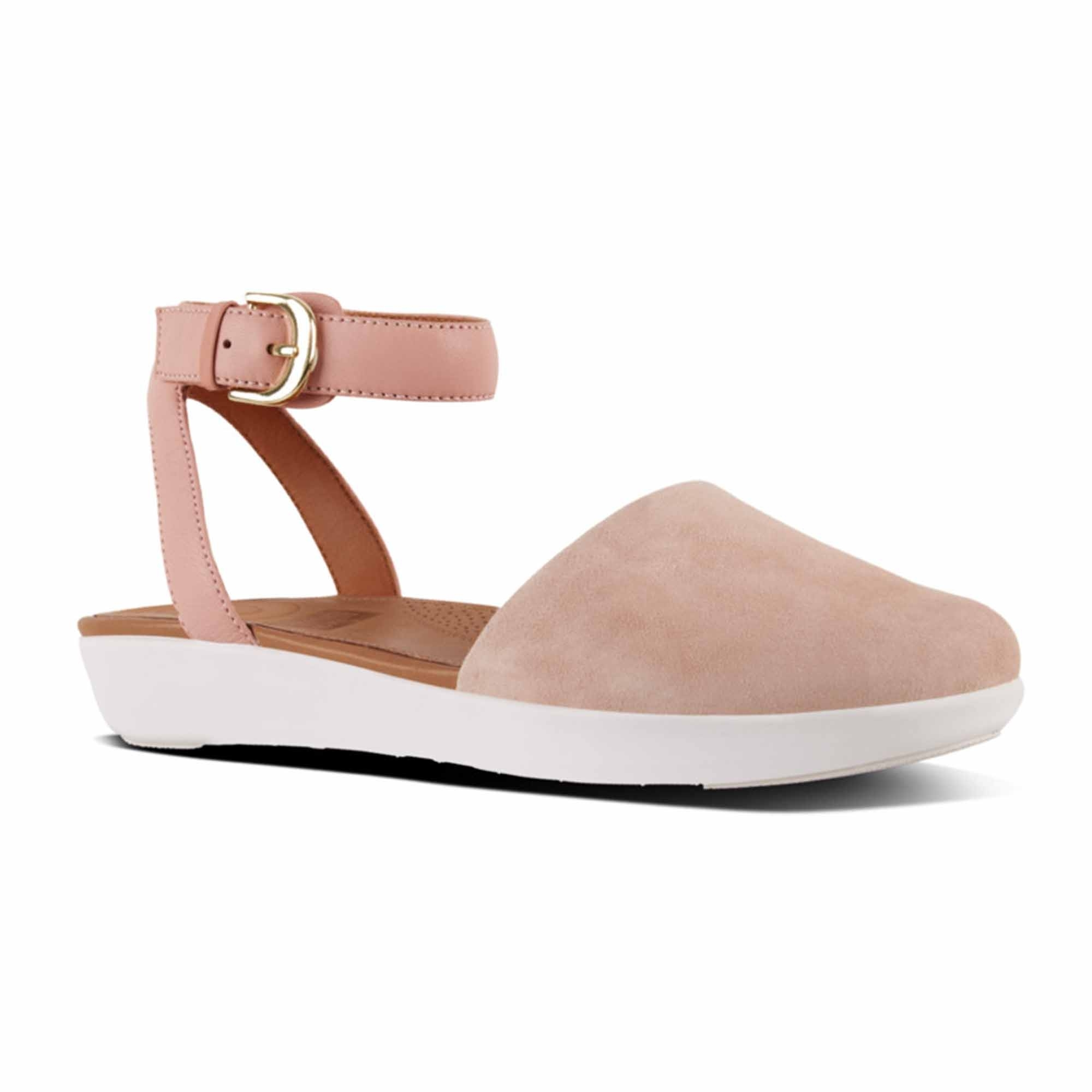 9743fef19 FitFlop™ COVA™ Ladies Suede Strap Closed-Toe Sandals Dusky Pink   Shuperb