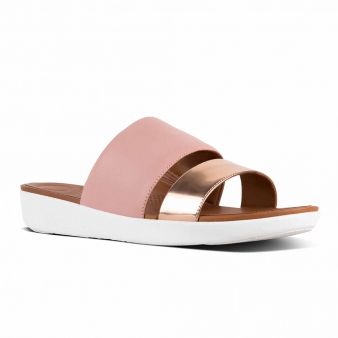 04e84132d39e2 FitFlop™ DELTA™ Ladies Leather Slide Sandals Pink Rose Gold