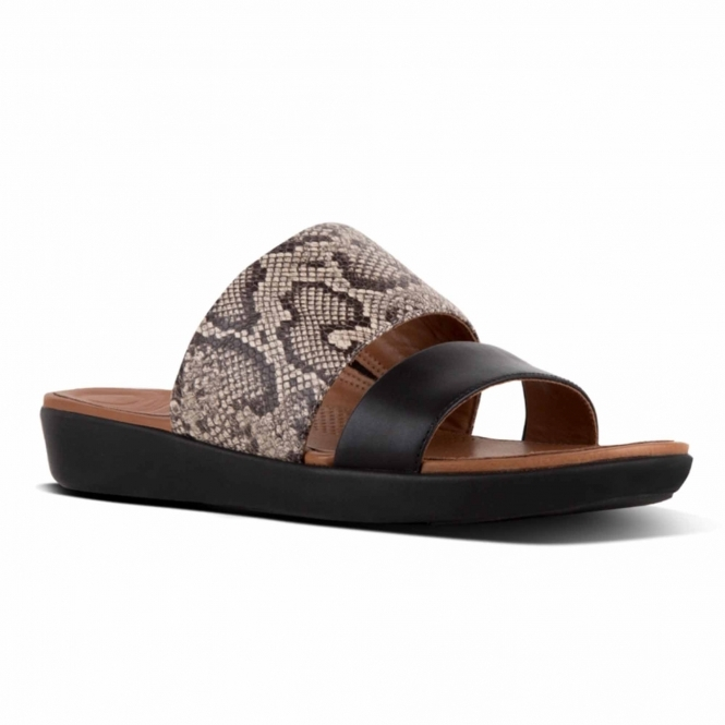 512a80c4bba5 FitFlop™ DELTA™ Ladies Real Leather Slide Sandals Taupe Snake