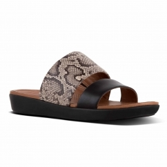 FitFlop™ DELTA™ Ladies Leather Slide Sandals Taupe Snake