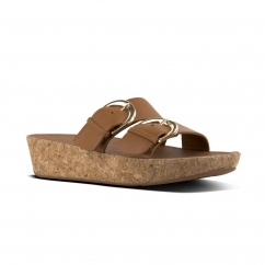 FitFlop™ DUO™ Ladies Leather Buckle Slide Sandals Caramel