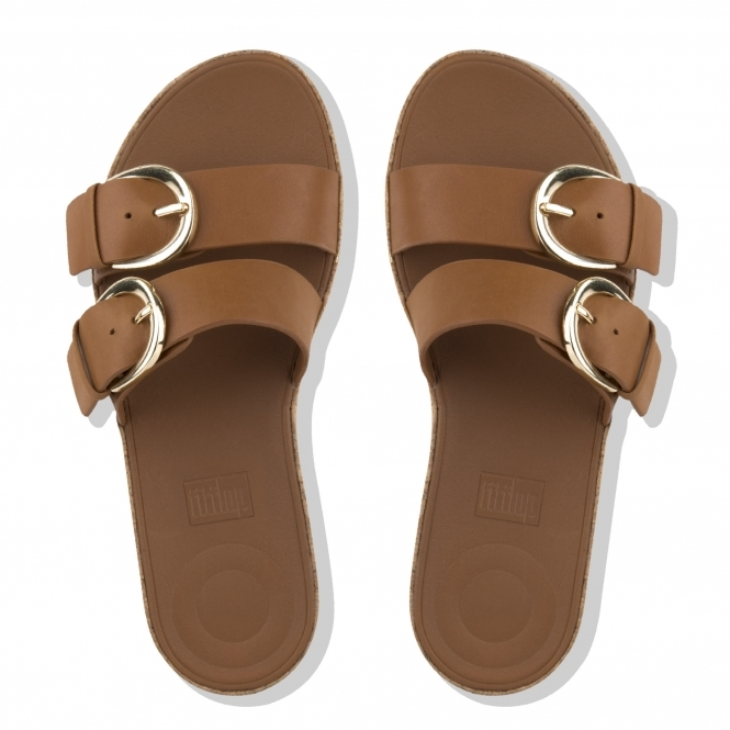 b524c0c87ed9 FitFlop™ DUO™ Ladies Leather Buckle Slide Sandals Caramel