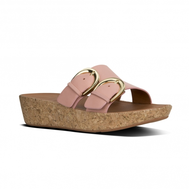 Fitflop Duo Ladies Leather Buckle Slide Sandals Dusky