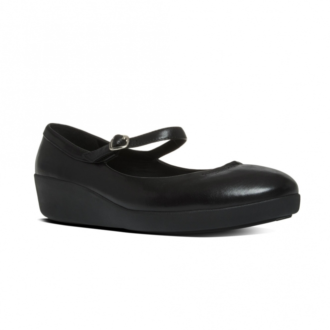 FitFlop™ F-Pop Mary Jane Shoes in Black Nude