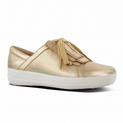 FitFlop™ F-SPORTY II™ Ladies Leather Fringe Trainers Gold Iridescent