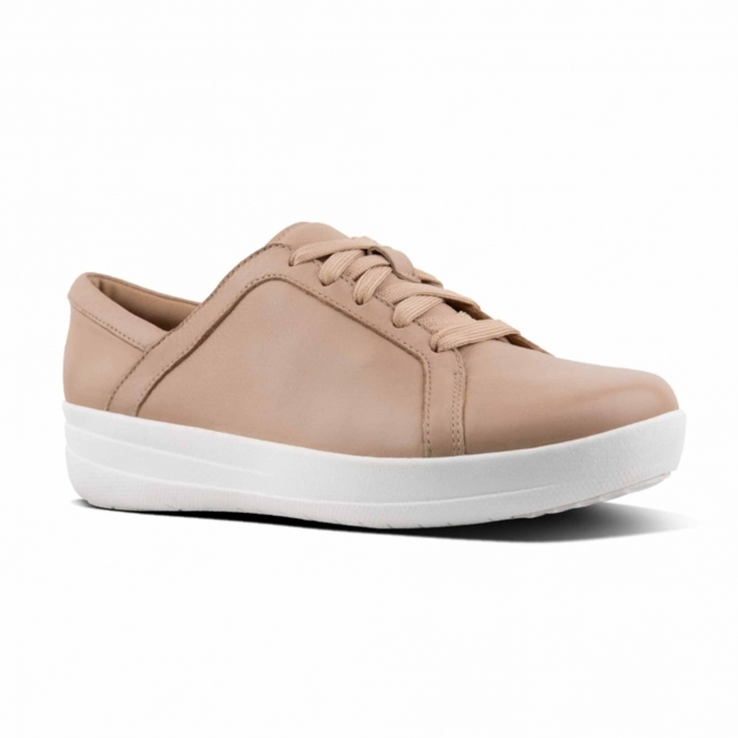 0def4768ebac5f FitFlop™ F-SPORTY II™ Ladies Leather Lace Up Trainers Nude