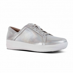 FitFlop™ F-SPORTY II™ Ladies Leather Lace Up Trainers Silver Iridescent