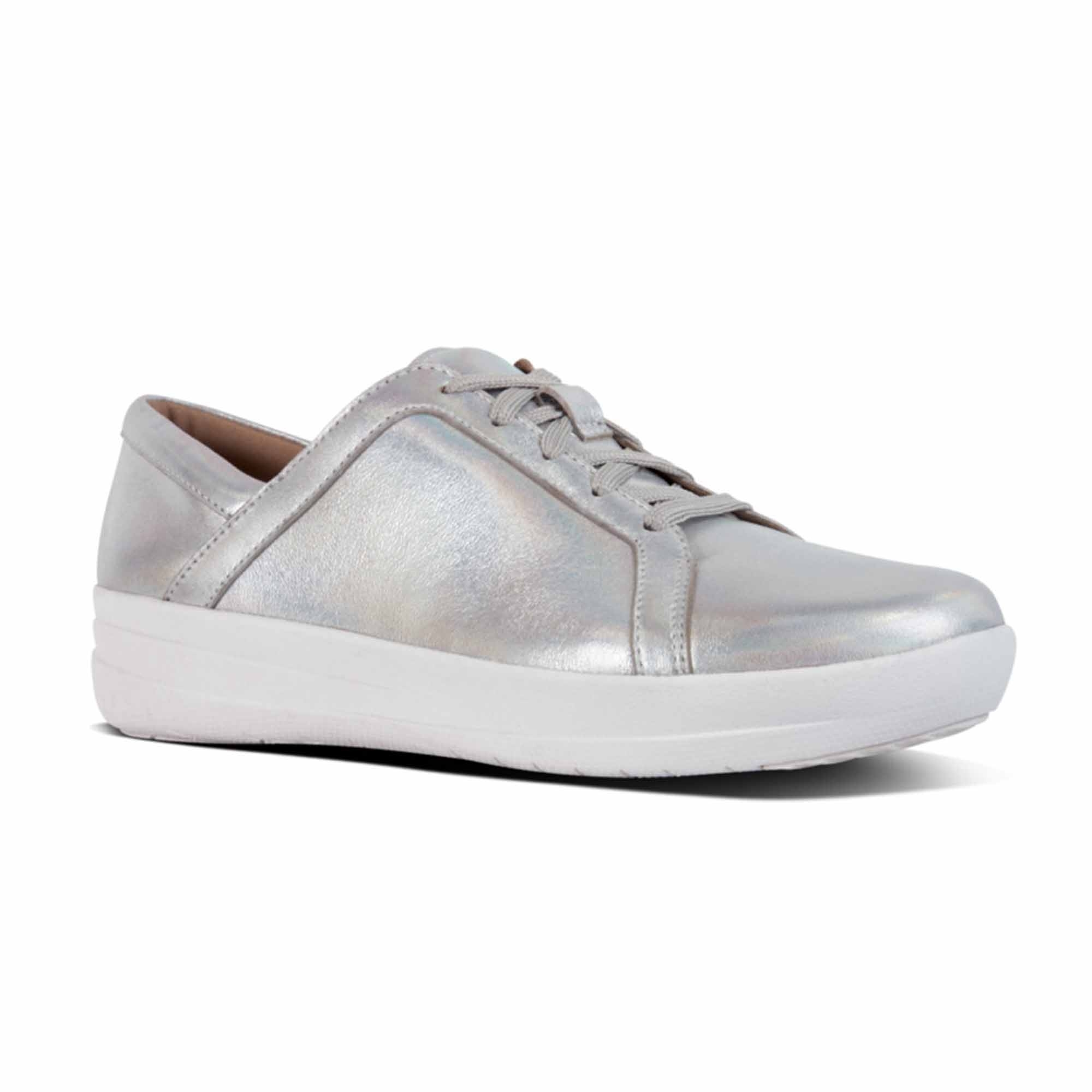 5a0a21e1dfd07 FitFlop™ F-SPORTY II™ Ladies Leather Trainers Silver Iridescent ...
