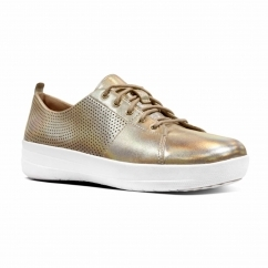 FitFlop™ F-SPORTY II™ Ladies Perforated Leather Lace Up Trainers Gold