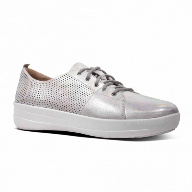 6a8119cb5eefb FitFlop™ F-SPORTY II™ Ladies Perforated Leather Trainers Silver ...
