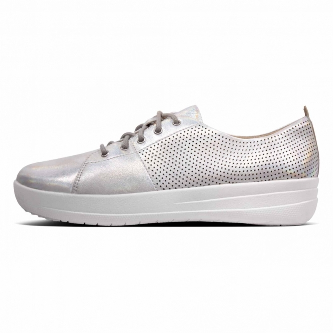 a83fc66af FitFlop™ F-SPORTY II™ Ladies Perforated Leather Lace Up Trainers Silver