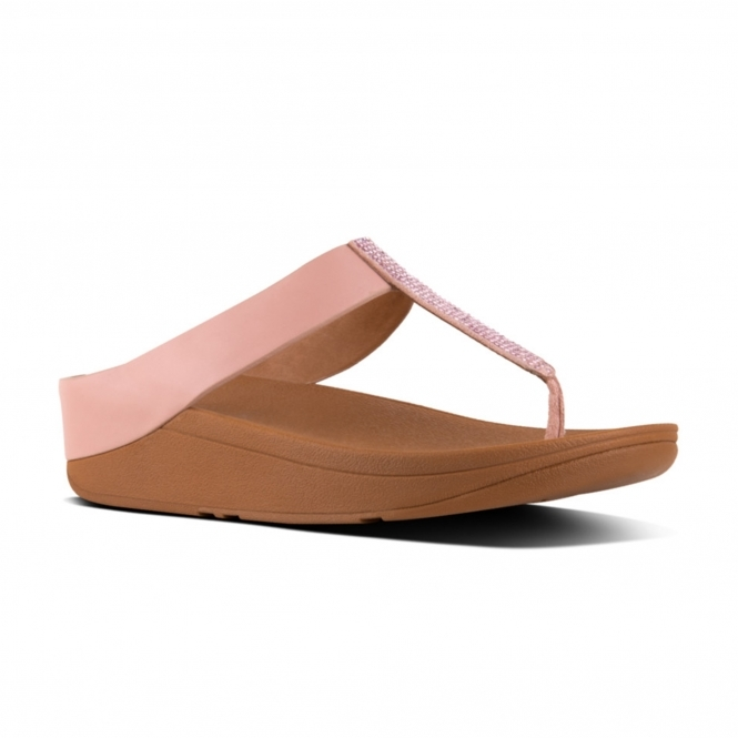 a5a8d2cbf414 FitFlop™ FINO™ Ladies Crystal Toe Post Summer Sandals Dusky Pink ...