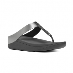 FINO™ Ladies Crystal Toe Post Sandals Pewter