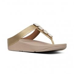 d729ba0b8222 FitFlop FINO SHELLSTONE Ladies Toe Post Sandals Artisan Gold
