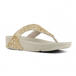 GLITTERBALL™ Ladies Shimmer Toe Post Sandals Pale Gold