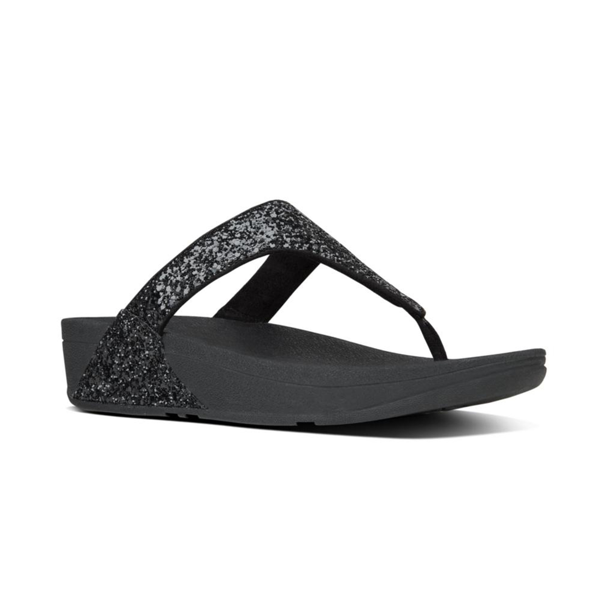 e11fbcb435d FitFlop™ GLITTERBALL™ Ladies Shimmer Toe Post Sandals Black