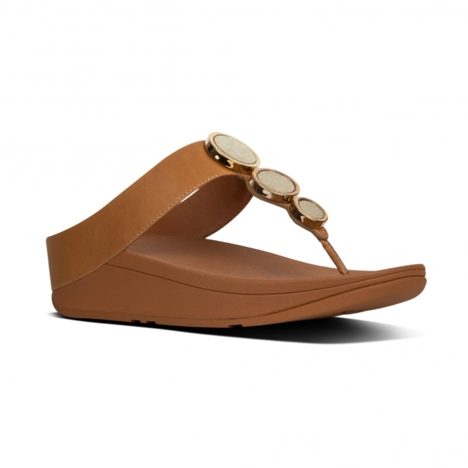df7fc3475eb3 FitFlop™ HALO™ Ladies Leather Wedge Heel Sandals Caramel