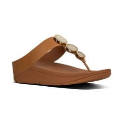 FitFlop™ HALO™ Ladies Leather Wedge Heel Sandals Caramel