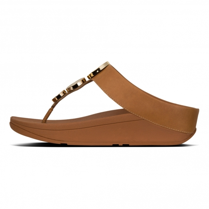 caf6d962754a FitFlop™ HALO™ Ladies Leather Wedge Heel Sandals Caramel