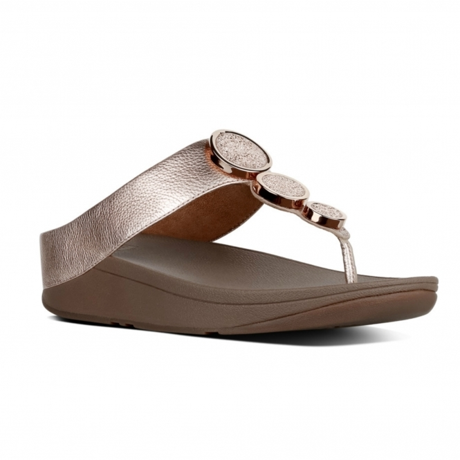 471ebdc4f33d8 FitFlop™ HALO™ Ladies Leather Wedge Heel Sandals Rose Gold
