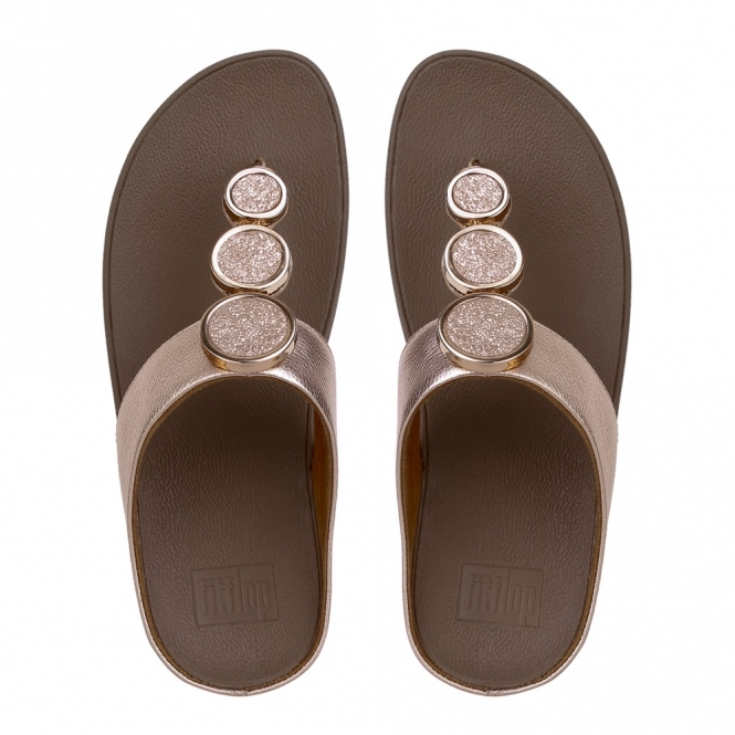 4a8bde57207c FitFlop™ HALO™ Ladies Leather Toe Post Wedge Heel Sandals Rose Gold