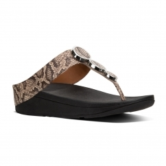 FitFlop™ HALO™ Ladies Leather Wedge Heel Sandals Taupe Snake