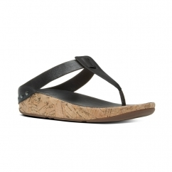 IBIZA CORK™ Ladies Leather Toe Post Sandals Black