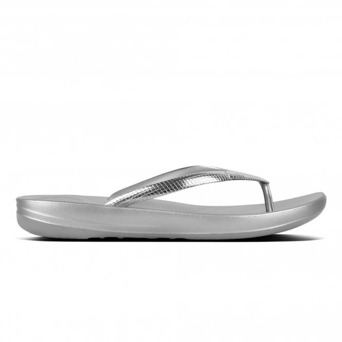498f4c596 FitFlop™ iQUSHION ERGONOMIC - MIRROR Ladies Flip Flops Silver