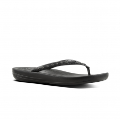 FitFlop™ iQUSHION™ Ladies Ergonomic Toe Post Flip Flops Crystal Black