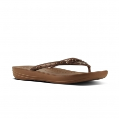 FitFlop™ iQUSHION™ Ladies Ergonomic Toe Post Flip Flops Crystal Bronze
