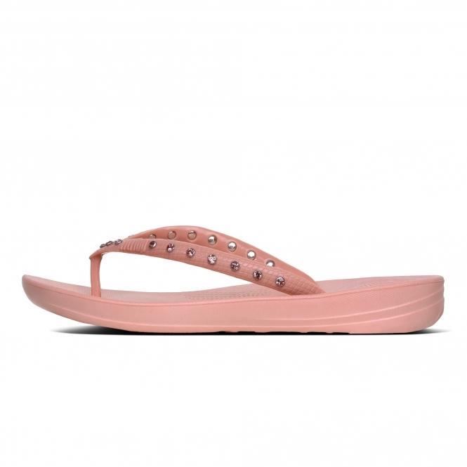 f2d1de7dc4e00 FitFlop™ iQUSHION™ Ladies Ergonomic Toe Post Flip Flops Crystal Dusky Pink