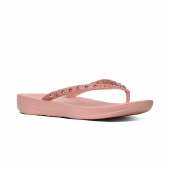 FitFlop™ iQUSHION™ Ladies Ergonomic Toe Post Flip Flops Crystal Dusky Pink