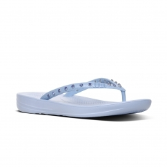 FitFlop™ iQUSHION™ Ladies Ergonomic Toe Post Flip Flops Crystal Powder Blue