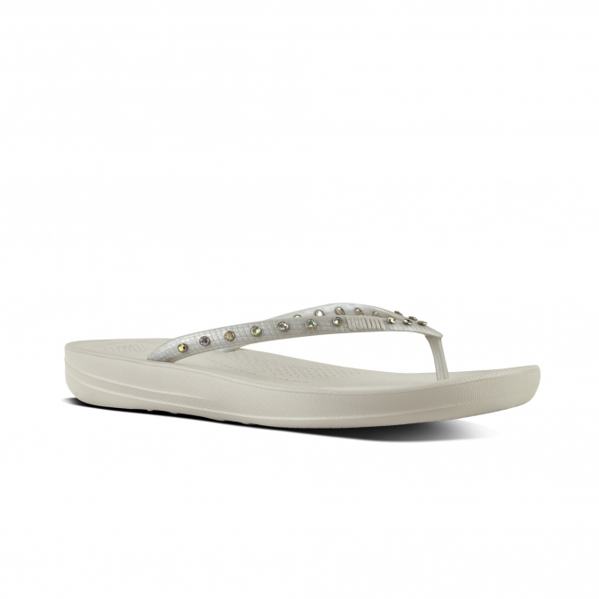 b18e71668773 FitFlop™ iQUSHION™ Ladies Toe Post Flip Flops Crystal Silver