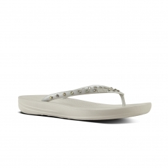 FitFlop™ iQUSHION™ Ladies Ergonomic Toe Post Flip Flops Crystal Silver