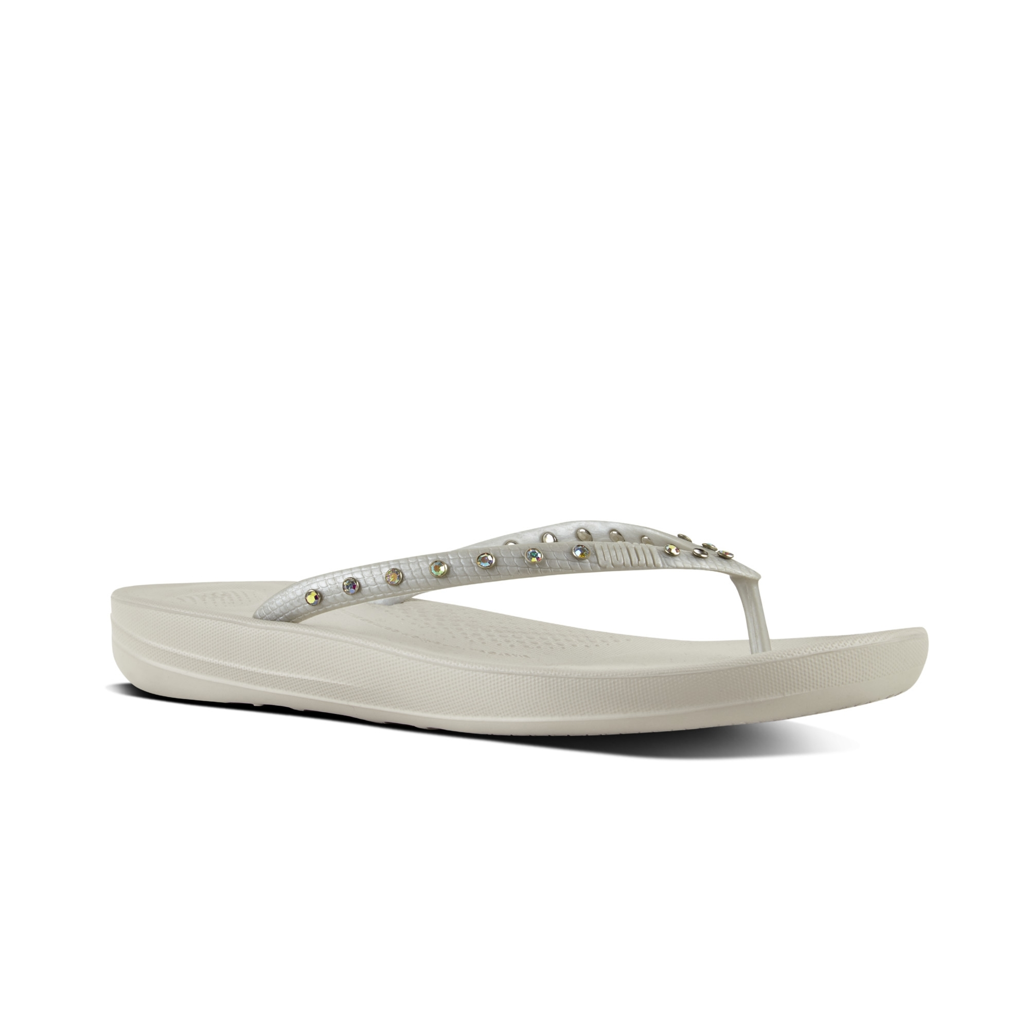 9031c379336 FitFlop™ iQUSHION™ Ladies Toe Post Flip Flops Crystal Silver