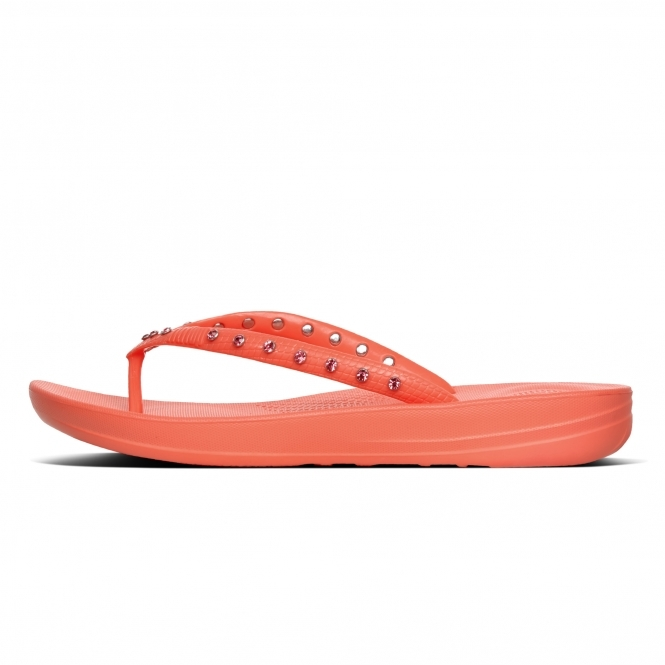 f3ca96508886cf FitFlop™ iQUSHION™ Ladies Ergonomic Toe Post Flip Flops Crystal Sunshine  Coral