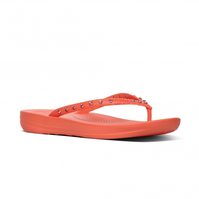 efc0f3274693 FitFlop™ iQUSHION™ Ladies Flip Flops Crystal Sunshine Coral