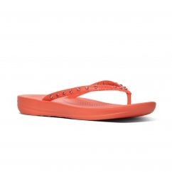 FitFlop™ iQUSHION™ Ladies Ergonomic Toe Post Flip Flops Crystal Sunshine Coral