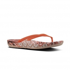 FitFlop™ iQUSHION™ Ladies Ergonomic Toe Post Flip Flops Daisy Print Sunshine Coral