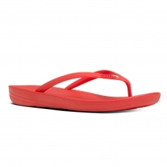 IQUSHION™ Ladies Ergonomic Toe Post Flip Flops Flame
