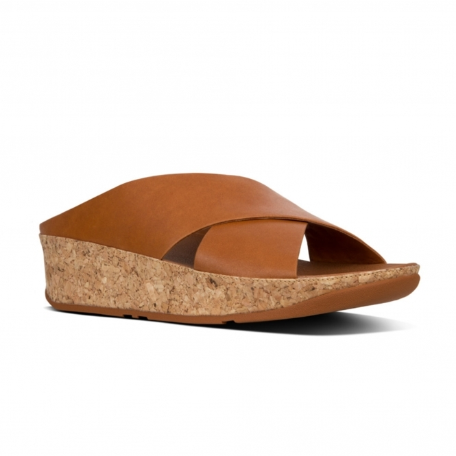 76da56a923f8 FitFlop™ KYS™ Ladies Leather Wedge Heel Sandals Caramel Brown