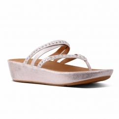 FitFlop™ LINNY™ Ladies Leather Criss Cross Toe Post Sandals Blush Metallic
