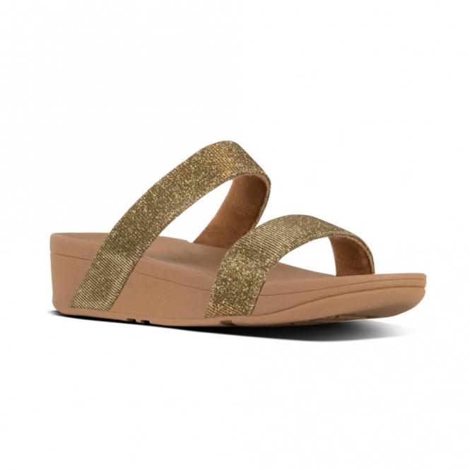 a2a591e41 FitFlop LOTTIE GLITZY Ladies Slide Sandals Artisan Gold