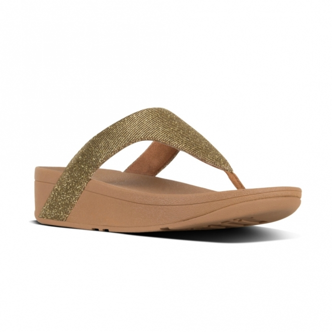 1de43db4f80 FitFlop LOTTIE GLITZY Ladies Toe Post Sandals Artisan Gold