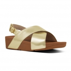 FitFlop™ LULU™ Ladies Back Strap Cross Sandals Gold Mirror