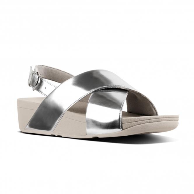 a8151a7008035b FitFlop™ LULU™ Ladies Back Strap Cross Sandals Silver Mirror