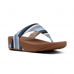 FitFlop™ LULU™ Ladies Canvas Toe Post Sandals Blue Stripey