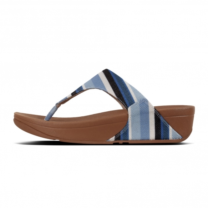 74fdd0a6e2a668 FitFlop™ LULU™ Ladies Canvas Toe Post Sandals Blue Stripey