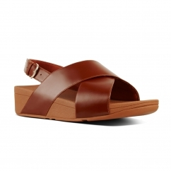 FitFlop™ LULU™ Ladies Leather Cross Back Sandals Caramel